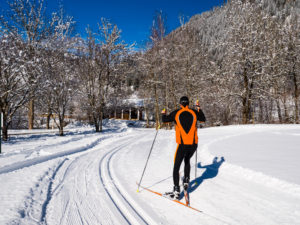 Athlete on a cross-country ski run in skating technique/Langläufer auf Loipe