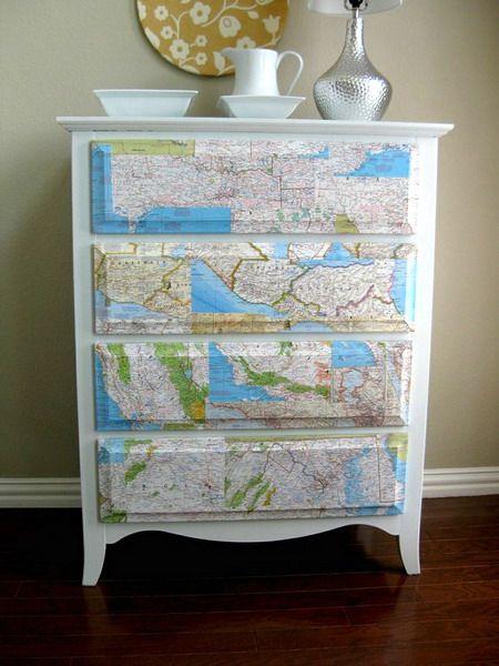 dekorieren mit landkarten. Black Bedroom Furniture Sets. Home Design Ideas