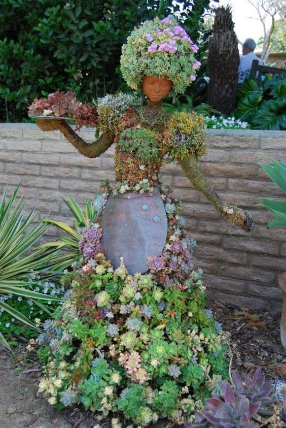 sukkulenten, Garten, Figuren, Skulpturen