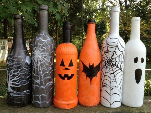 halloween-deko-ideen-flaschen-färben